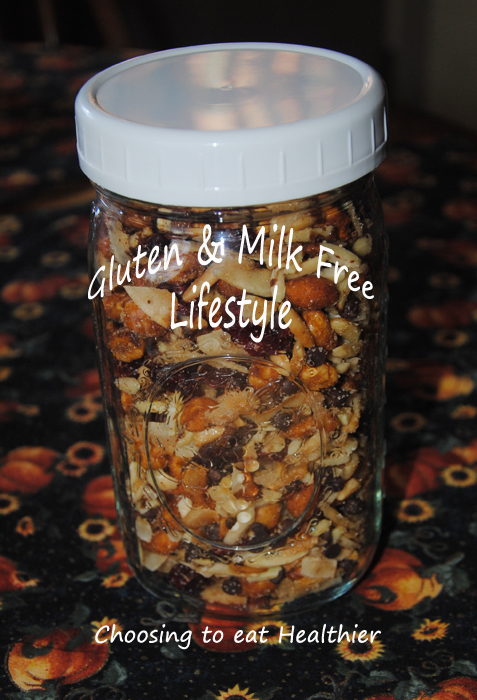 A Gluten and Milk Free Snack Mix - Great for holidays, Hiking trail mix, camping, etc...   http://glutenandmilkfreelifestyle.reflectivetapestryoflife.com/